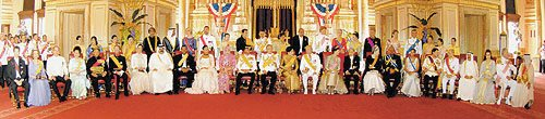 A group photograph of His Majesty King Bhumibol Adulyadej and Queen Sirikit with royalty from other countries at the Ananda Samakhon Throne Hall Bangkok