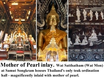 Golden teak inlaid with mother of pearl at Wat Satthatham (Wat Mon), Samut Songkram