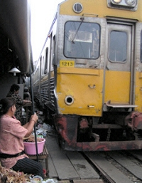 Maeklong market on the rail tracks