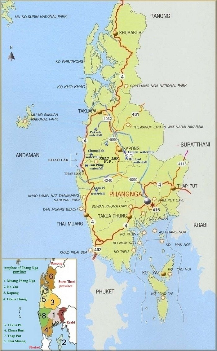 Map of Phang Nga province Khao Lak tourist information guide