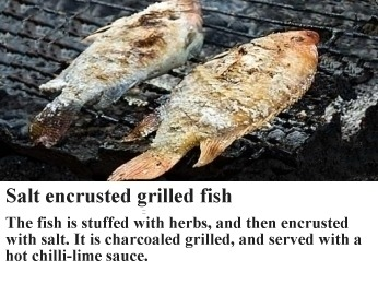 salt encrusted grilled fish