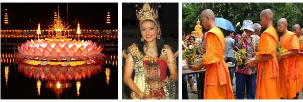 left: Loy Krathong    cente: Traditional dress   right: Lent Day in Thailand