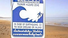 tsunami hazard warning sign at Khao Lak