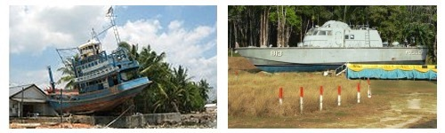Washed up fishing boat at Baan Namken + police patrol boat in the jungle at Bang Niang Khaolak