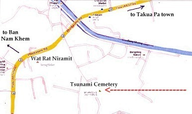Tsunami Victim Cemetery at Ban Bang Maruan, Bang Muang, Takua Pa Map